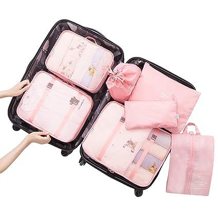 Dexinx Organizadores para Maletas,Set de 7 Viaje Impermeable Organizador de Equipaje para Ropa(3 Cubos Viaje + 4 Bolsas) Pink