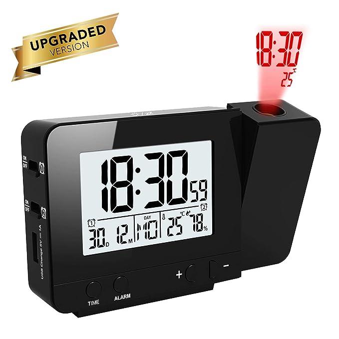 OurLeeme Relojes de Proyección, Despertador Proyector, Relojes de Alarma Electrónicos Alarma Dual, Función de Repetición, 12/24 Horas, Fecha, ...