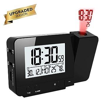 OurLeeme Reloj de proyección con Pantalla LED Reloj de Alarma Alimentado a batería con 2 alarmas