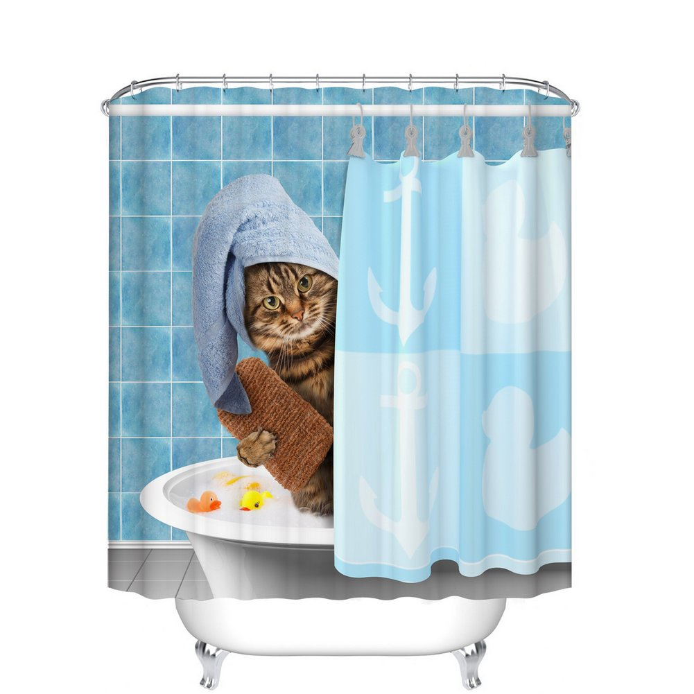 Fangkun Animals Funny Kitten Cat Bathing Decor Bathroom Shower Curtain 3D printing - Waterproof, Soap, and Mildew resistant - Machine Washable - Shower Hooks are Included (72 x 72 inches, YL032#)