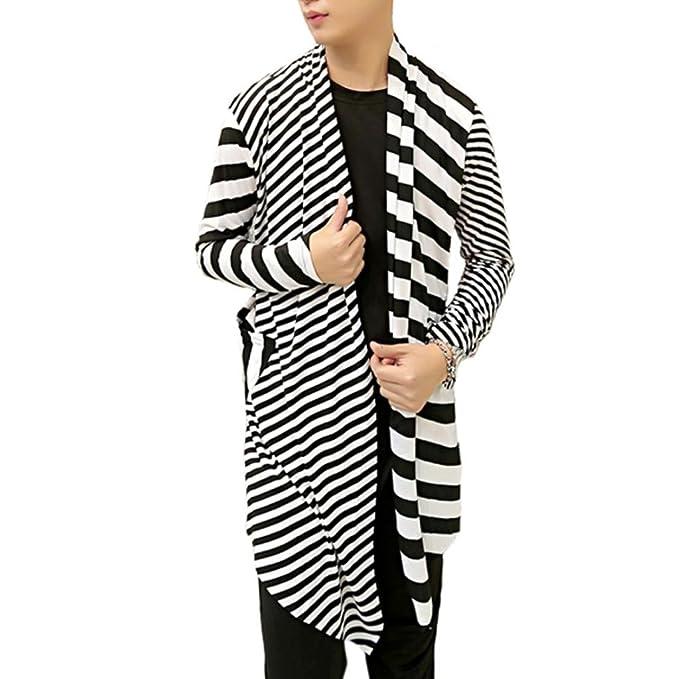 Amazon.com: mokewen Hombre Rayas Manga Larga chaqueta de ...