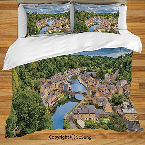 (Wanderlust Decor King Size Bedding Duvet Cover Set,Dramatic Clouds Over Ancient Town of Dinan Rance River Northwestern France Landscape Forest Decorative 3 Piece Bedding Set with 2 Pillow Shams,)