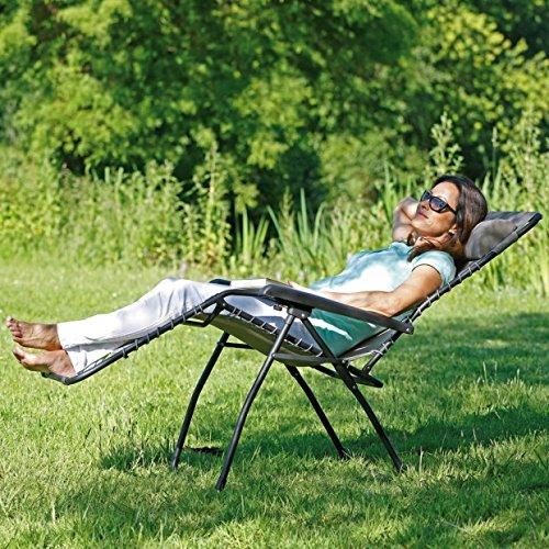 Sonnen-Liegestuhl klappbar u Sonnenliege maxVitalis Gartenstuhl mit verstellbare R/ückenlehne und Fu/ßteil grau Mit Armlehnen leicht Campingstuhl Gartenliege