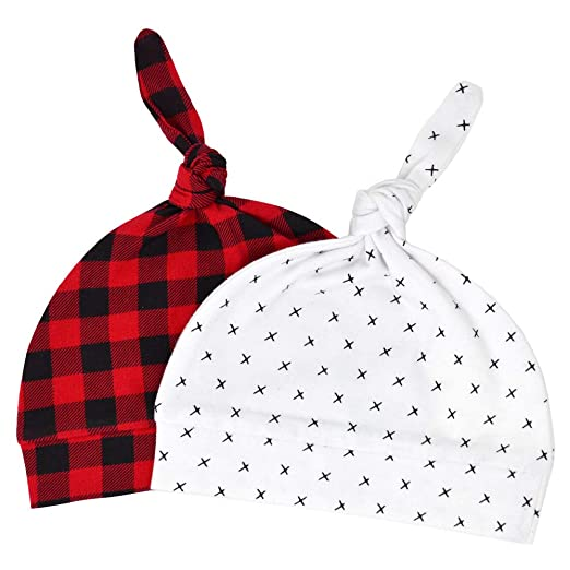 8c63fc66e8b Image Unavailable. Image not available for. Color  Newborn Hats for Boys Girls  Soft 100% Organic Cotton Buffalo Plaid Infant ...