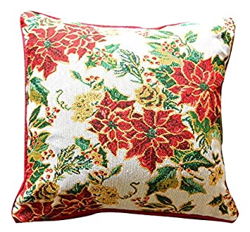 Tache 2 PC Festive Floral Christmas Deck the Halls Cushion Throw Pillow Cover