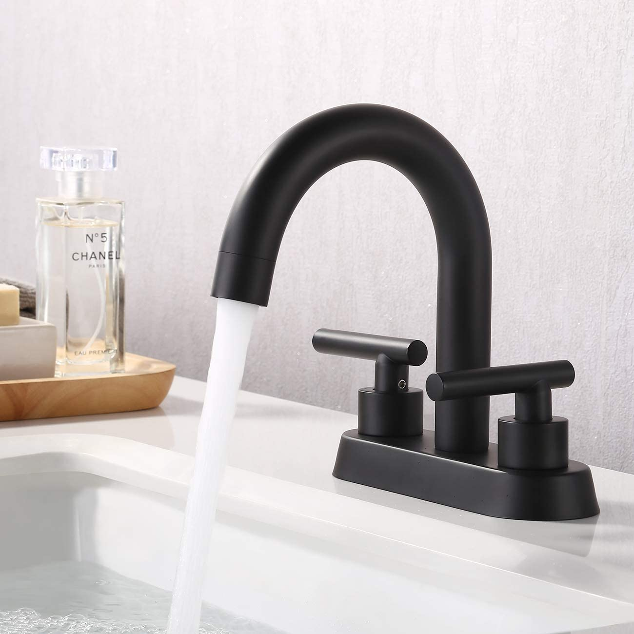 KES Matte Black 2 Handles Bathroom Sink Faucet Modern 4 Inches Centerset Vanity Faucet Lead Free Brass Construction, L4117LF-BK