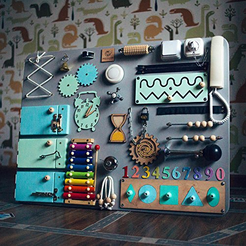 SmartKids-2 European quality. Handmade Wooden Busy board, Clever Puzzles, Locks and Latches Activity Board (Grey + Blue) by Smart Kids