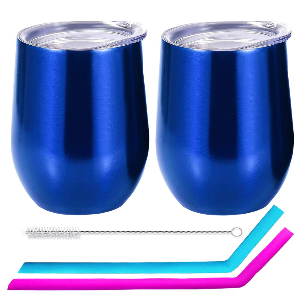 EigPluy 12 oz Stemless Wine Glass Tumbler Double Wall Vaccum Insulated Stemless Wine Glasses with Lid and Straw Stainless,Unbreakable Steel Wine Tumbler Cup,Set of 2 (Blue)