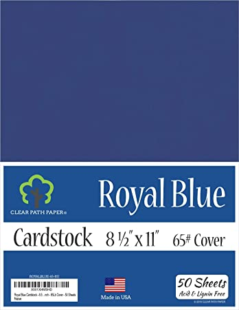 8.5 x 11 inch Royal Blue Cardstock 100 Sheets 65Lb Cover