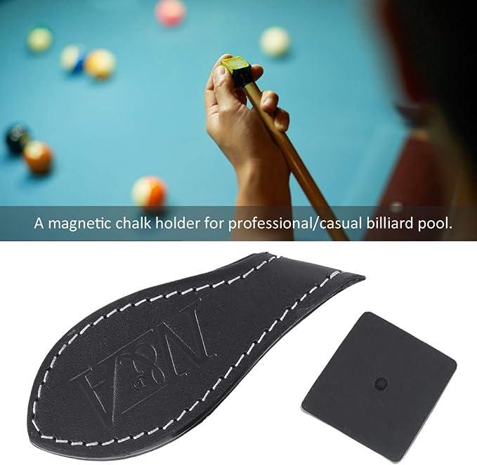 Junluck Soporte de Cuero para Billar Pool MagnéTico Soporte para Tiza de Billar con Clip para CinturóN PortáTil Porta Tiza de Cuero Profesional Informal Herramienta de Precisión Pool Stick: Amazon.es: Deportes y