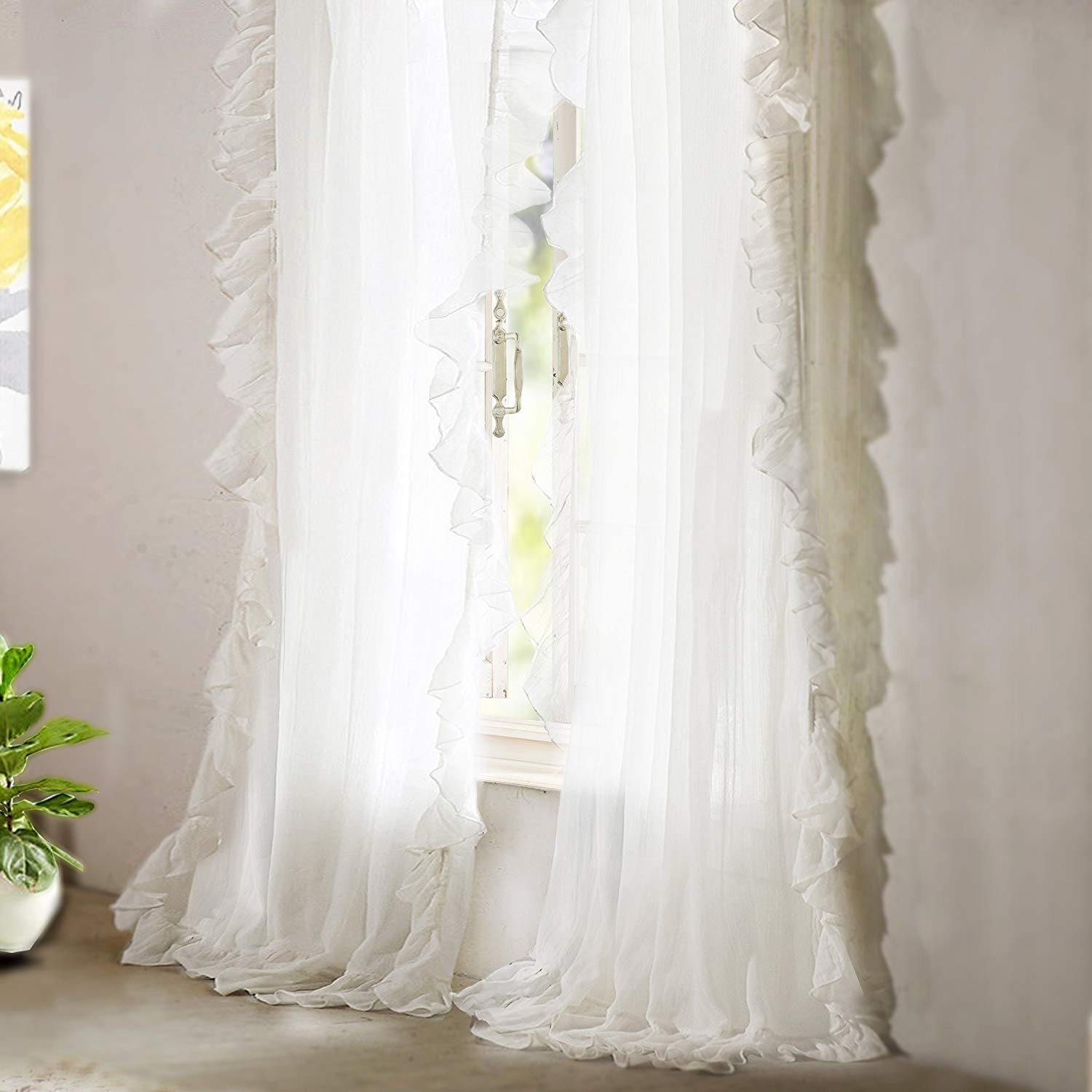 KALENDS Sheer Curtain Set for Living Room Bedroom Rod Pocket Tulle Fabric Ruffle White Window Treatment - 52'' W x 96'' L - (2 Panels)
