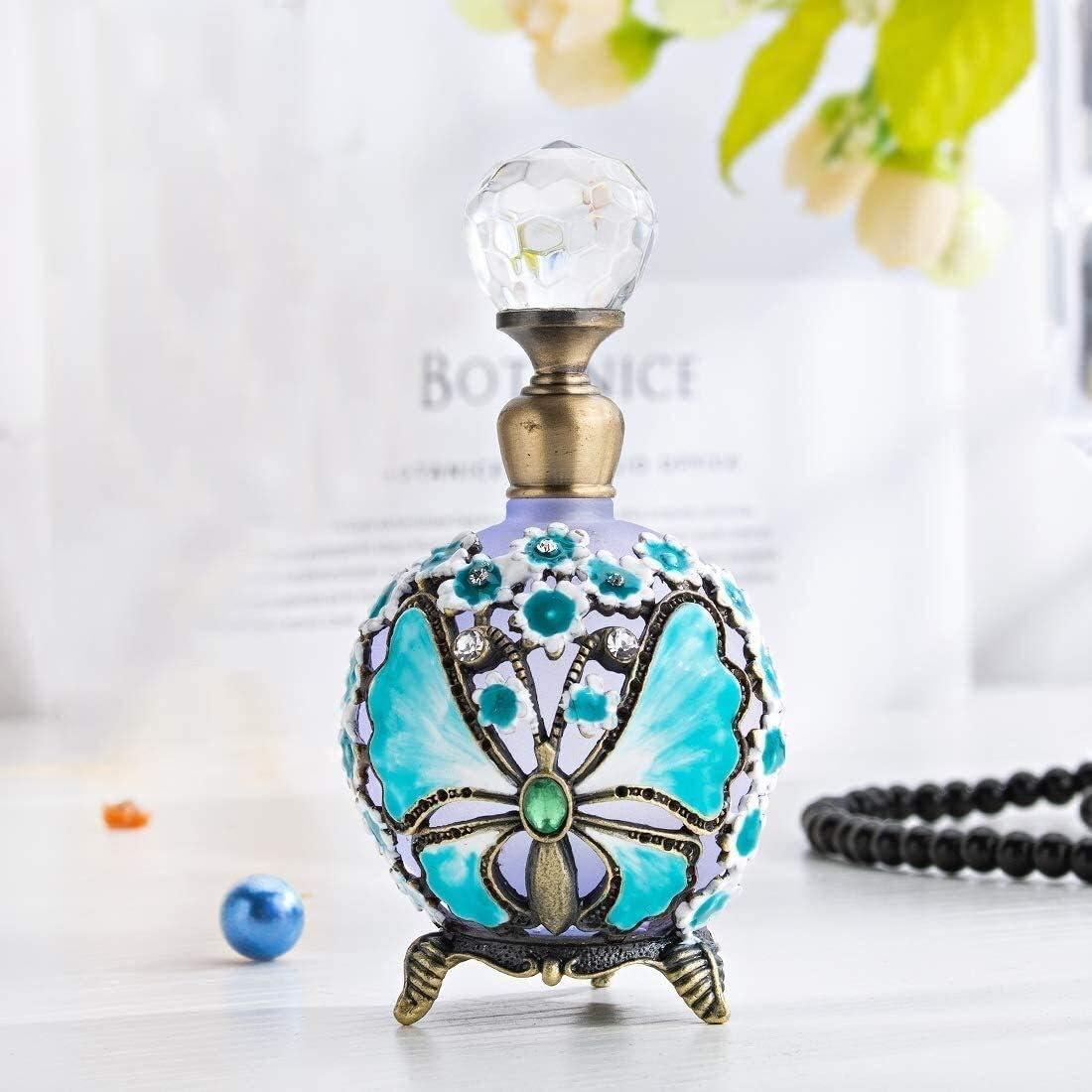 Botella de aceite esencial del perfume portátil Botella de cristal de perfume vacía del patrón de flor de la mariposa pintado a mano de la fragancia Loción Crema Aceite Esencial Retro aceite esencial
