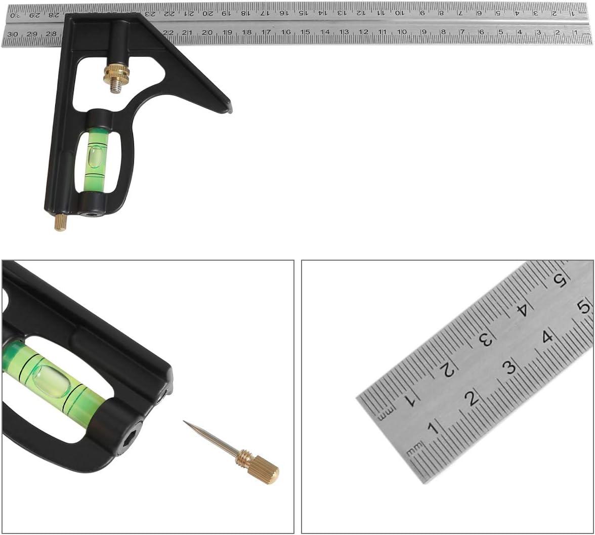 Outil de mesure /à angle droit Combinaison carr/ée universelle universelle en acier inoxydable noir 30,5 cm