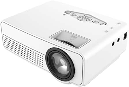 1800 Lumens Mini Projector Upgraded, Full HD Maximum 1080P Display Supported,PS4,TV Stick, Smartphone, USB, VGA, HDMI AV SD Card Supported, Great for Home Theater Movies (White)