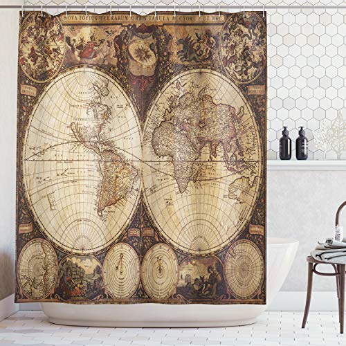 Ambesonne Wanderlust Decor Shower Curtain, Old World Map Drawn in 1720s Nostalgic Style Art Historical Atlas Vintage Design, Fabric Bathroom Set with Hooks, 69W X 70L Inches Long, Brown