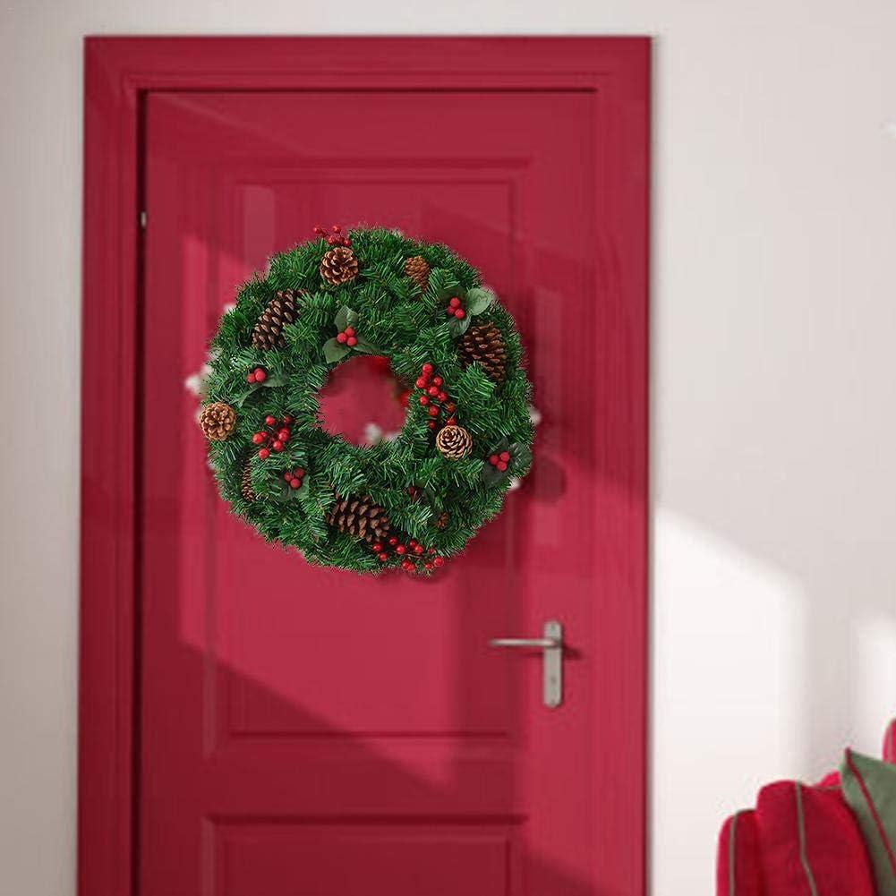 HELLOO HOME Couronne De Noel Porte Couronne Guirlande Noel pour Porte Avant D/écoration Thanksgiving Guirlande D/écorative Pommes De Pin Rouges Baies