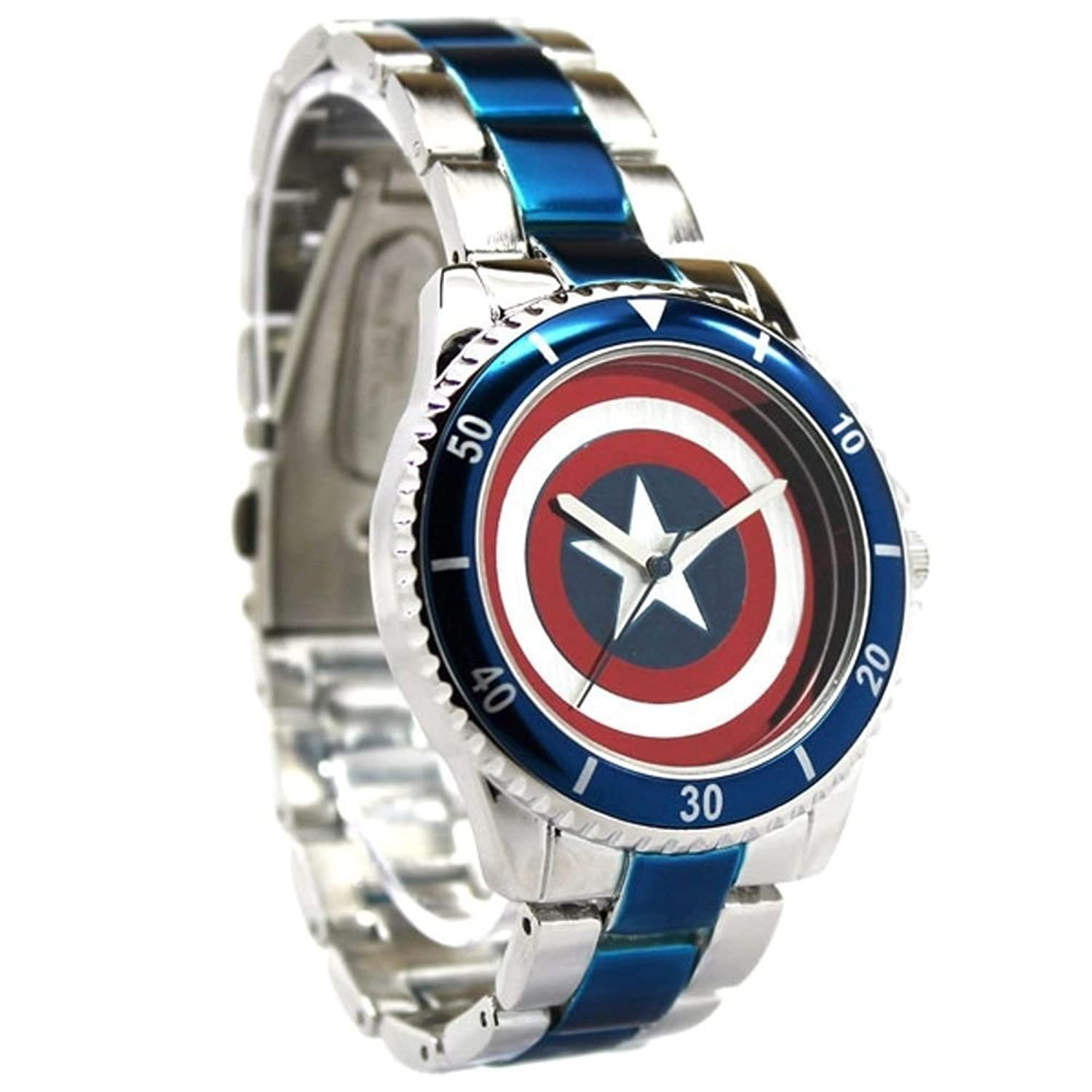 Amazon Captain America Shield Watch with Metal Bracelet Band
