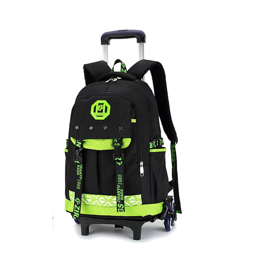 Mochila escolar con ruedas Asdomo, unisex, ruedas extraíbles para niños, niñas, adolescentes, estudiantes, nailon, Black+green, 11.8X18.1X7.5 inches: ...