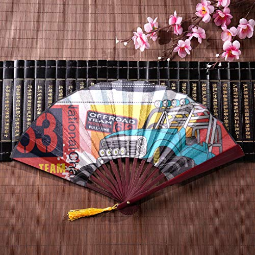 JGYJF Japanese Hand Fans for Women Cartoon Monster Truck with Bamboo Frame Tassel Pendant and Cloth Bag Chinese Fan Quality Hand Fan Elegant Hand Fan -
