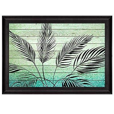 Delightful Object of Art, Illustration of Silhouette Leaves Over Green Gradient Wood Panels Nature Framed Art, Original Creation