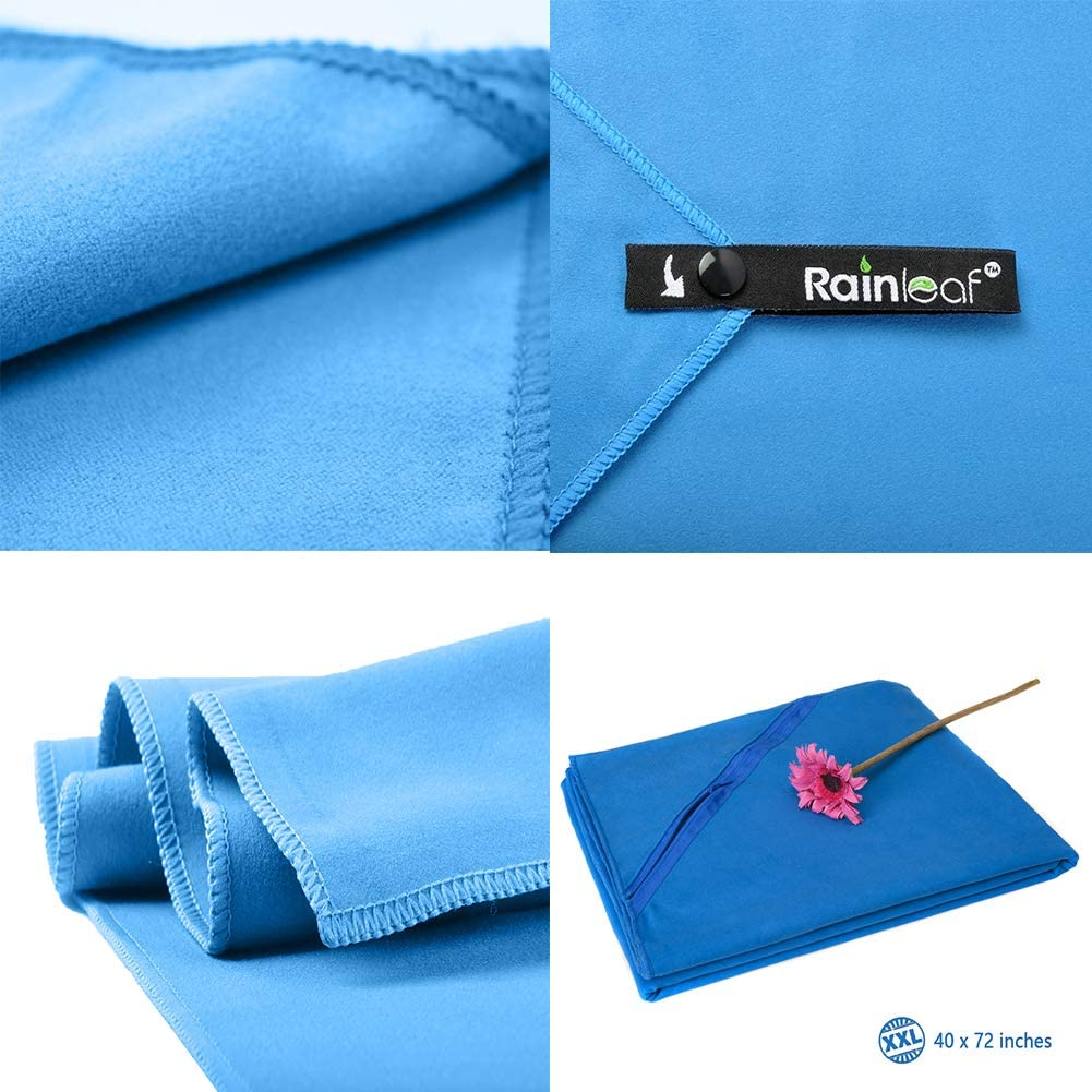 Suitable for Camping Swimming Beach Backpacking. Rainleaf Microfiber Towel Perfect Sports /& Travel /&Beach Towel Ultra Compact Fast Drying Super Absorbent Gym