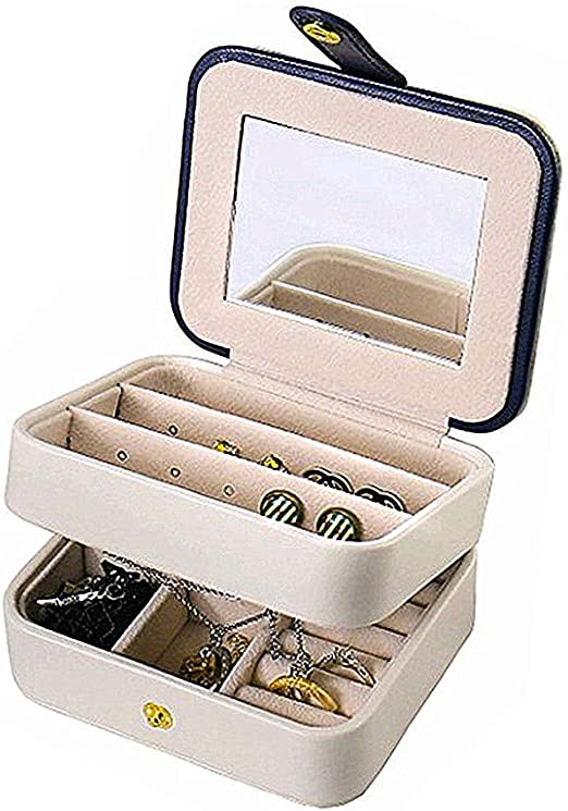 Small Travel Jewelry Box Trinkets Storage Necklace Earring Holder Room Decor