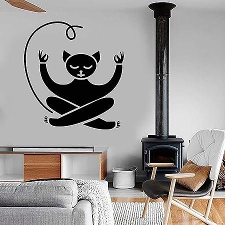supmsds Meditación Cat Vinyl Wall Decal Yoga Sticker ...