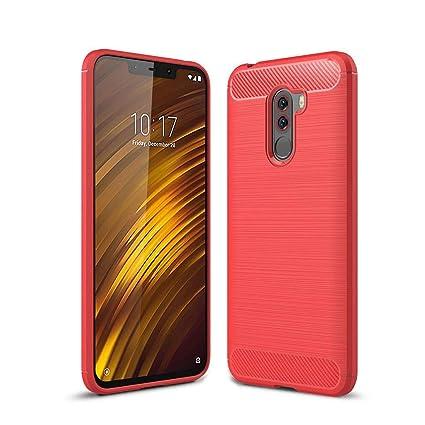 LJSM Xiaomi Pocophone F1 Funda Rojo Fibra de Carbono Suave ...