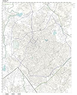 Amazon.com: Charlotte, NC ZIP Code Map Laminated: Home & Kitchen on