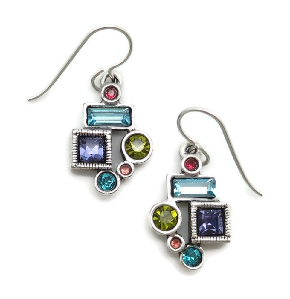 Patricia Locke Celebration Multi Color Park Avenue Swarovski Silver Plated Hook Earrings