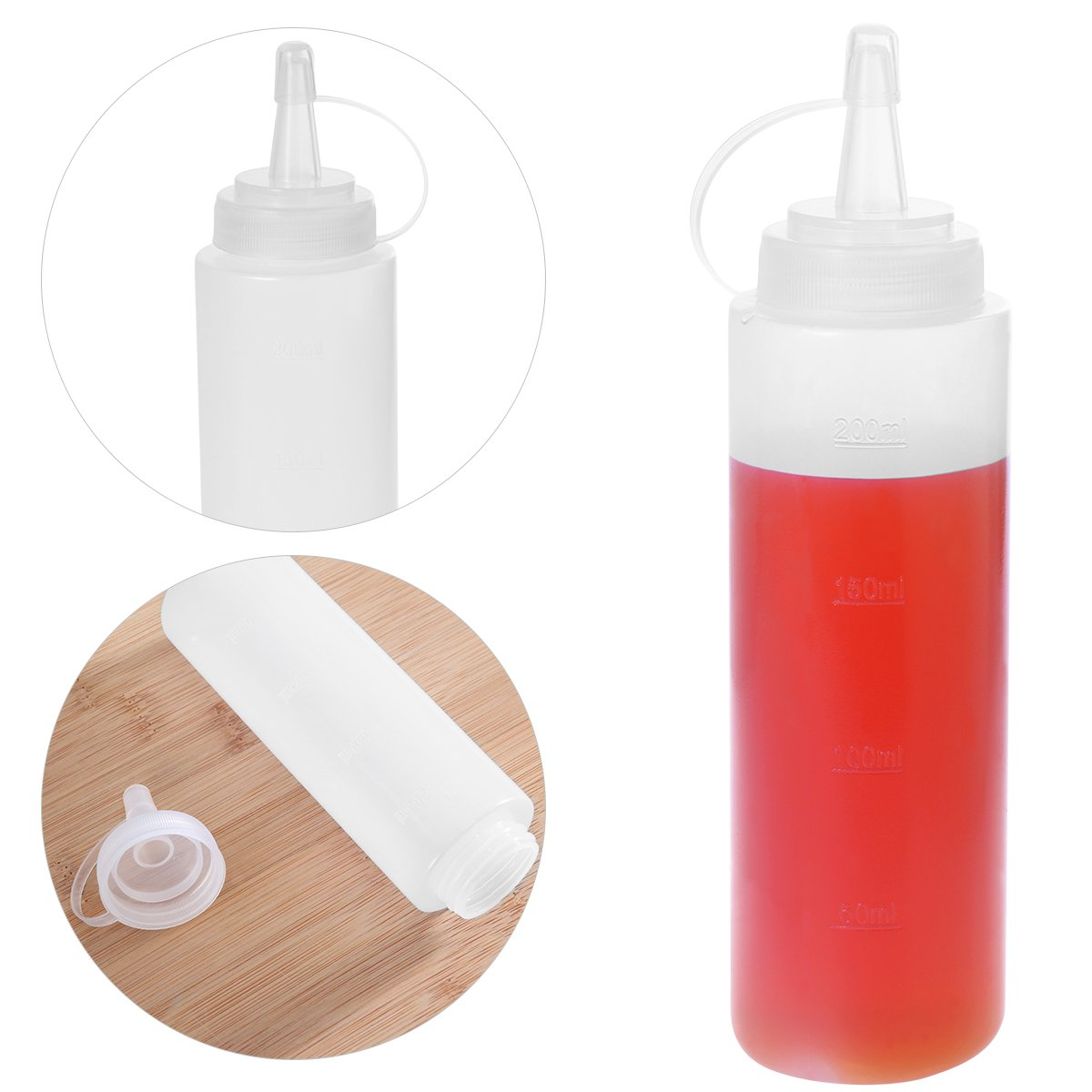 and More BESTONZON 5pcs 8oz Squeeze Condiment Squirt Bottles with Cap Perfect for Ketchup Sauces Storage BBQ Mustard Dressing