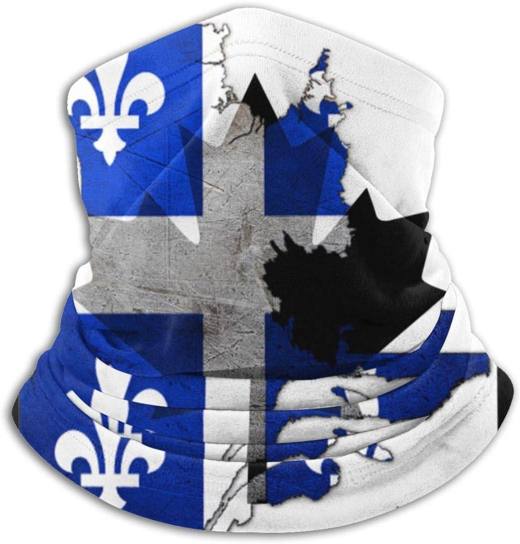 Sturmhaubenmaske,Nackenw/ärmer Schal,Halsmanschette,Halsw/ärmer,Quebec Canada Flag Map Schwarz Weiche Halsw/ärmer Sturmhaube Kapuze F/ür Motorrad Radfahren Laufen Skifahren Snowboard Stirnb/änder