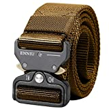 AIZESI Nylon Military Tactical Belt, Hunting Safety Belts, Military Style Nylon Webbing Riggers Belt with Quick Release Metal Buckle, Heavy Duty Belt Tactical Combat Police Utility Belt(Khaki)