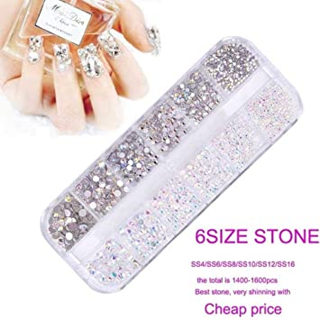 SS 1440Pcs Micro Diamond DIY Nails Rhinestones Crystal Flat Back Non Hotfix Rhin