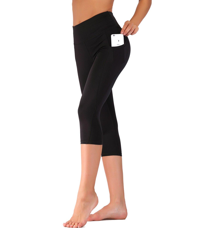 Imido Women's Yoga Capri Pants Sport Tights Workout Running Leggings with Side Pocket (M, Black Capri Pants)