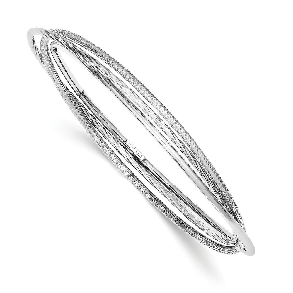 Solid .925 Sterling Silver Rhodium Twisted Textured Intertwined Bangle Bracelet inches