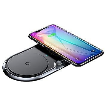 Cargador rápido inalámbrico dual, 2 en 1, carga inalámbrica rápida de 7,5 W para iPhone X, 8, 10 W Qi carga inalámbrica Pad para Galaxy S9, S9 +, S8, ...