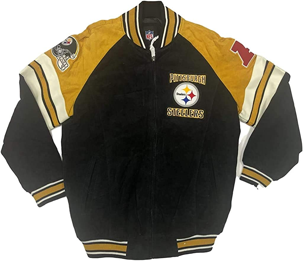 XX-Large Pittsburgh Steelers Full Zip Varsity Suede Mens Jacket Coat