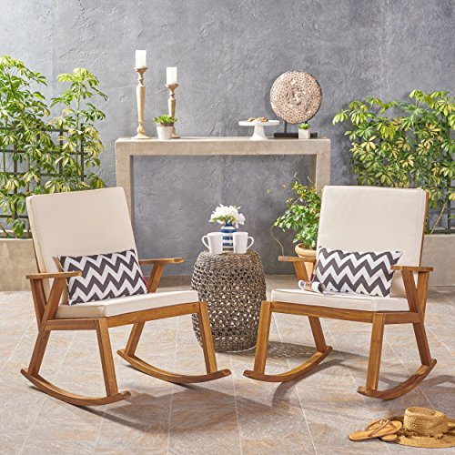 Christopher Knight Home 304686 Andy | Outdoor Acacia Wood Rocking Chair with Cushion | Set of 2 | Teak/Cream, Finish