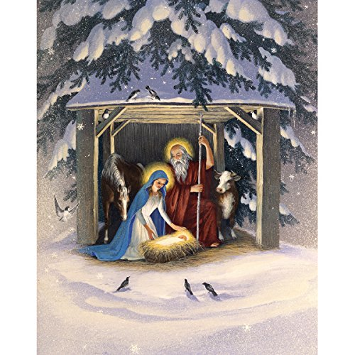 Graphique Holy Night Assorted Boxed Cards - 20 Baby Jesus & Manger Holiday Cards with 4 Designs & Embellished with Glitter, Christmas Cards Includes Matching Envelopes and Storage Box, 4.25