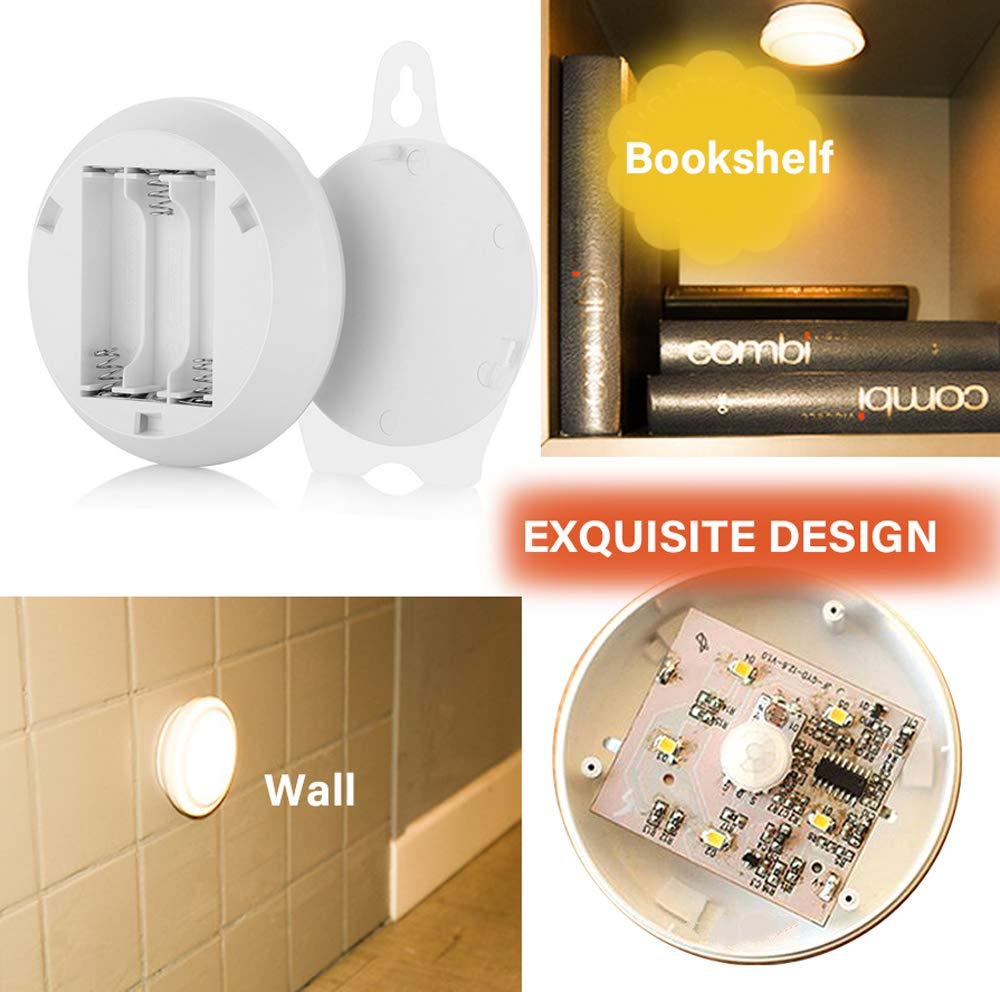 Motion Detected Light Battery-Operated Closet Night Light Stick-on Compact Lamp with Hanging Slot for Wardrobe Entryway Hallway Stairs Bedside Mirror Warm White