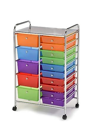 Meubletmoi Mueble de almacenaje con Cortador Acero Cromado Acero Inoxidable - 15 cajones Multicolores plásticas - Carrito de Baño, Cocina, ...
