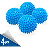 Set of 4 Reusable Non-Toxic Dryer Balls to Replace Liquid Fabric Softener and Reduce Drying Time - Alternative Dryer Wash Ball for 1000 Washing with Eco-Friendly Hypoallergenic PVC Anti-Static 3 Inch