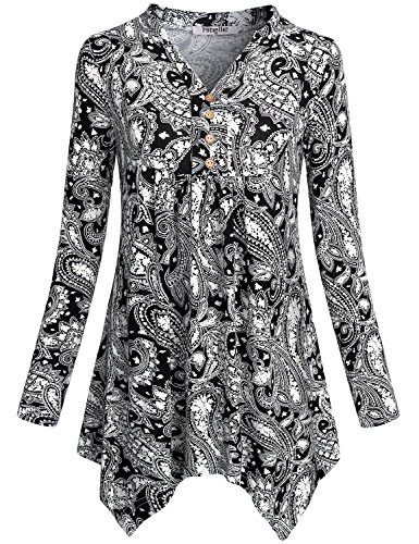 Hibelle Swing Tunic Tops for Women, Ladies Henley Paisley Shirts Split V Neck Flattering Stretchy Soft Empire Waist Printed Pattern T Shirt Trapeze Blouses Peplum Black L
