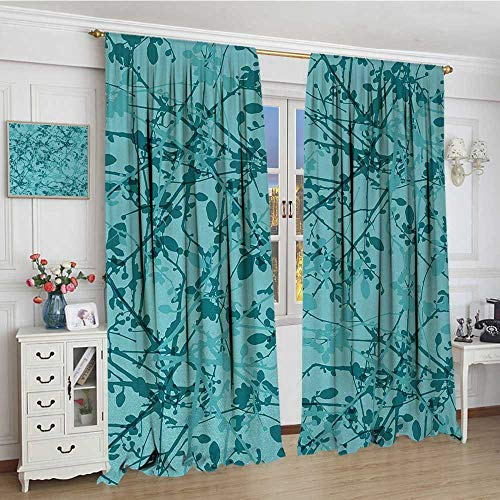 "smallbeefly Teal Patterned Drape For Glass Door Ink Drawing Inspired Intertwined Tree Branches Buds and Leaves in Abstract Design Decor Curtains By 108""x108"" Teal Turquoise"