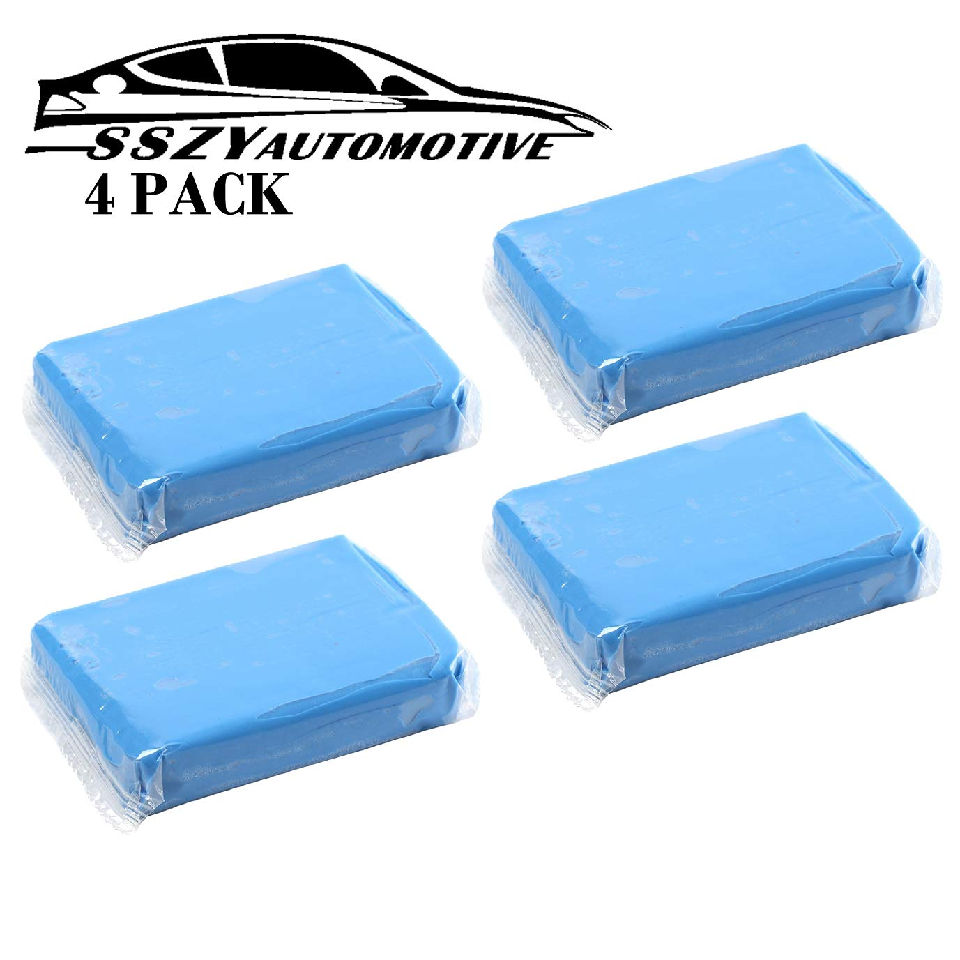 Car Clay Bar, 4 Pack 100g SSZY Powerful Type Car Auto Detailing Tools, Car Cleaning Kit, Car Cleaning Supplies Car Wash Equipment, Car Wash Magic Clay Bar Cleaner
