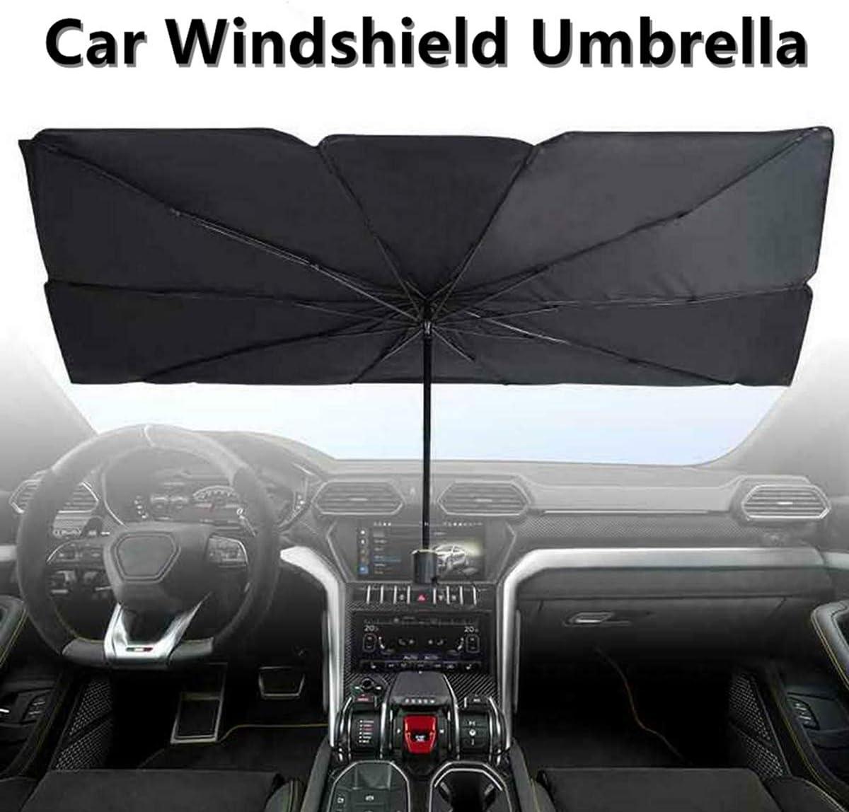 57 x 31 Large Size Car Windshield Sun Shade Umbrella Foldable Car Front Windshield Sunshade Window Cover UV Rays and Heat Sun Visor Protector Black
