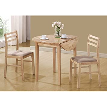 Monarch Specialties 3 Piece Dining Set With 36 Inch Diameter Drop Leaf Table ,