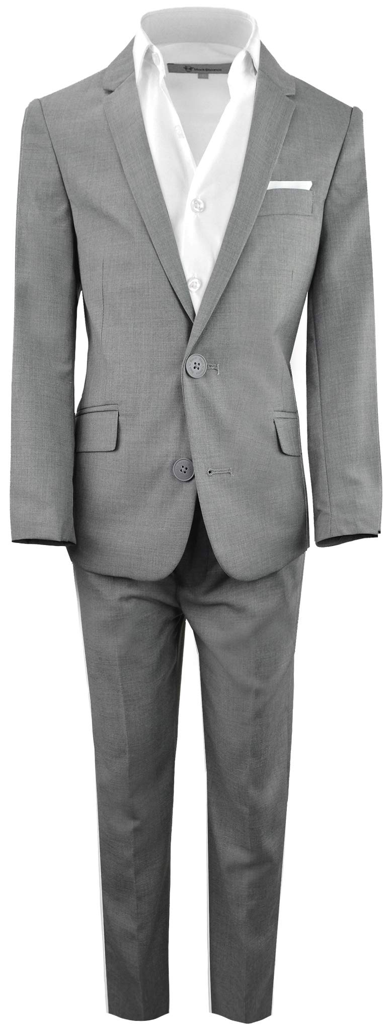Black n Bianco Boys' First Class Slim Fit Suits Lightweight Style. Presented by Baby Muffin (10, Rustic Gray)