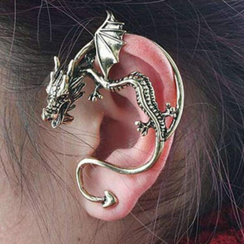 SSEHXL Pendientes Estilo Punk Color de Bronce Antiguo Clip de Oreja de dragón Pendientes de declaración Personalizados Vintage Ear Cuff Amigo